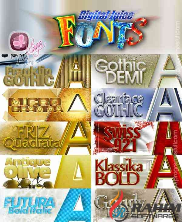 DIGITAL JUICE FONTS Collection vol 1-10 Free Download