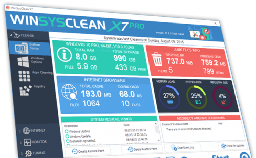 WinSysClean 17.0 Build 2465 Free Download