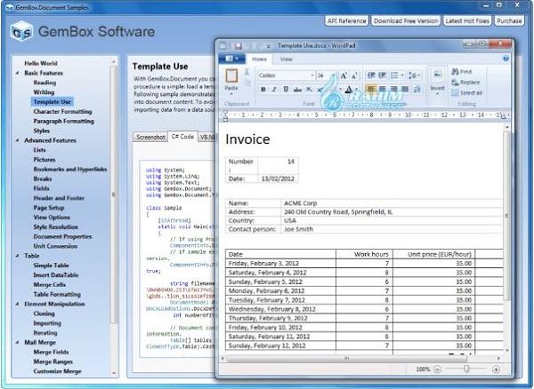 GemBox spreadsheet